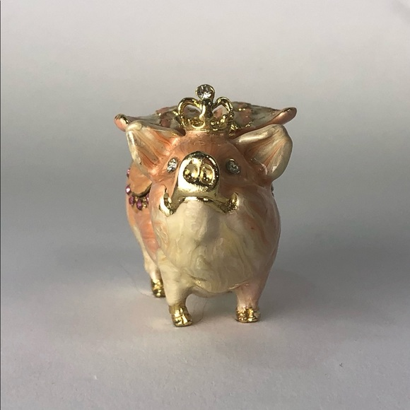 Jewelry box trinket Waltz&F pig with wings crown